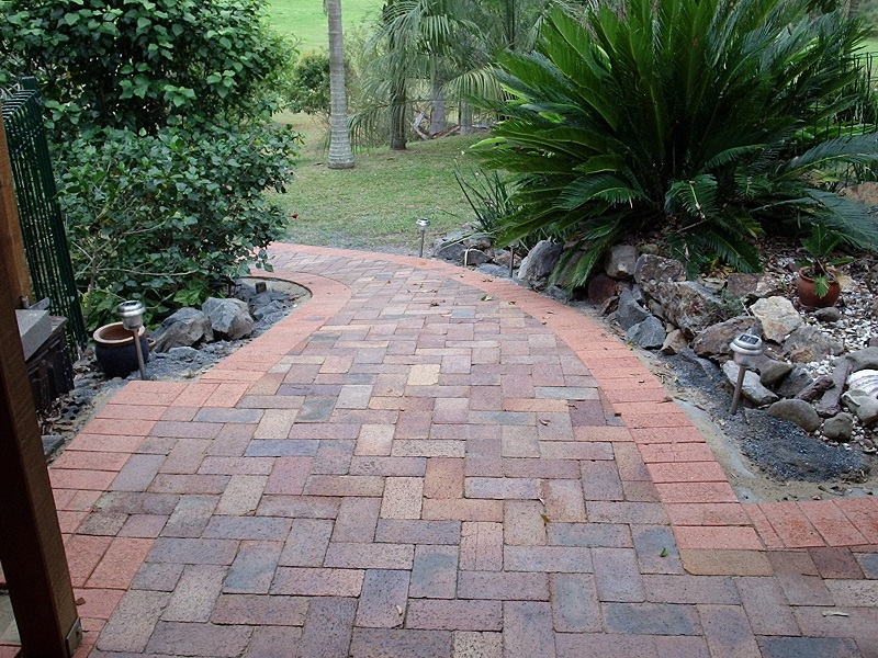 Gold Coast paving pathway clay pavers recycled