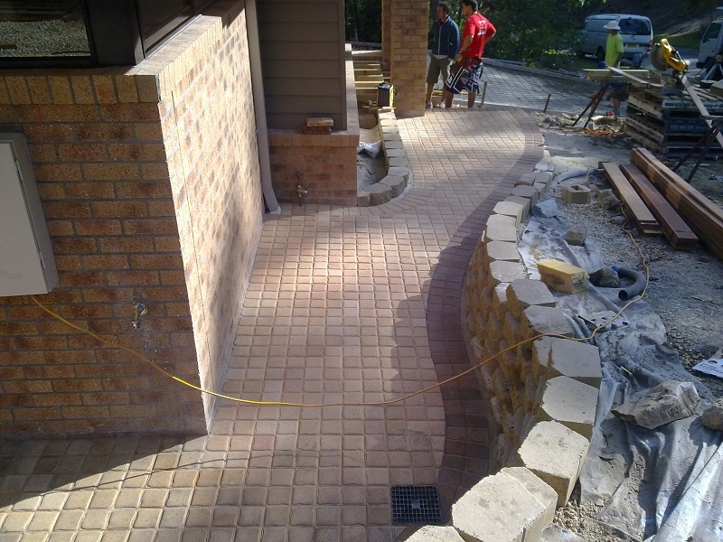 Pathway Paving using Clay Pavers  Cobble Retaining wall