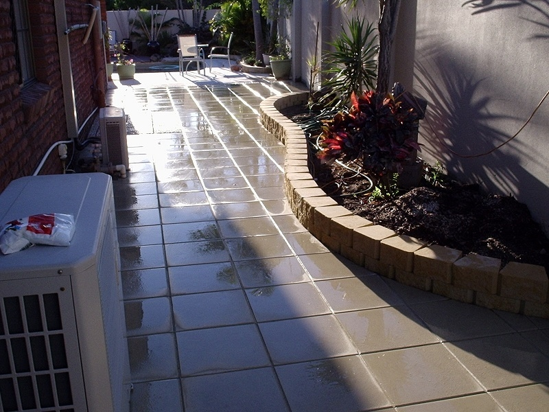 Gold Coast Pathway Paving with Concrete Pavers 400x400 + Garden Retaining Wall