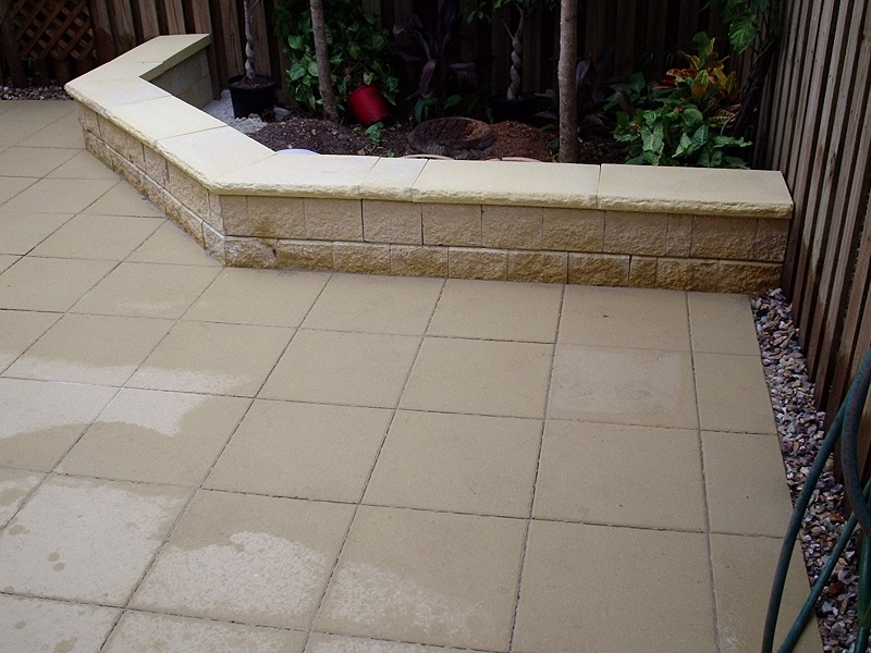 Patio Paving Using Concrete Pavers 400x400 + Garden Retaining Wall