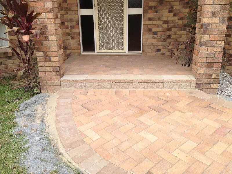 paving pathway clay pavers step